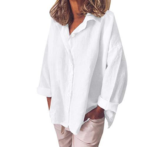POQOQ Blouse Women Solid Loose Shirt Turn-Down Tops Long Sleeve Thin Sunscreen Tunic(White,XL)]()