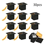 Graduation Candy Boxes,KATOOM 30pcs Doctoral Cap Shaped Gift Box Black Graduation Celebration Treat Candy Chocolate Sweet Box with Yellow Tassel for Graduation Ceremony Party