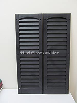 "Louvered Shed Shutter or Playhouse Shutter Black 9"" X 27"" Sold By the Pair from Shed Windows and More"