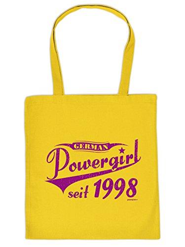Stofftasche - Powergirl seit 1998 - lustig bedruckte Umhängetasche als Geschenk zum Geburtstag - Baumwolltasche Tragetasche mit witzigem Spruch