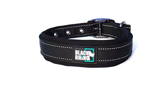 Black Rhino - The Comfort Collar Ultra Soft Neoprene Padded Dog Collar for All Breeds - Heavy Duty Adjustable Reflective Weatherproof (Medium, Black)