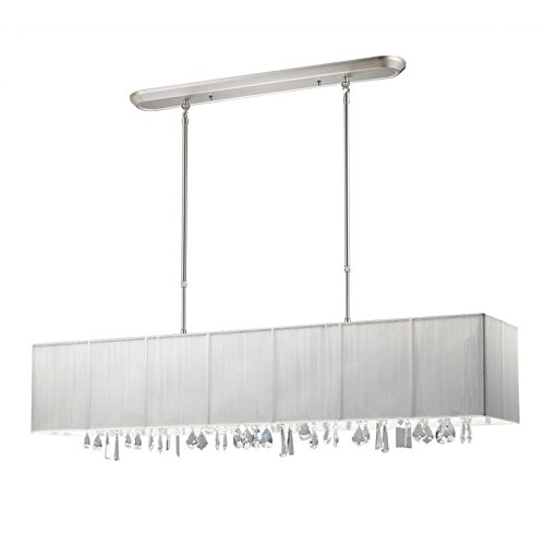 Z-Lite 173-48W Casia Five Light Island/Billiard, Metal Frame, Brushed Nickel Finish and White Shade of Nylon Material