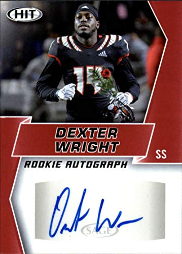 (2019 SAGE Hit Premier Draft (NFL) Football RED Autograph #A84 Dexter Wright Auto N.C. State Wolfpack Official Player Licensed Rookie RC Trading)