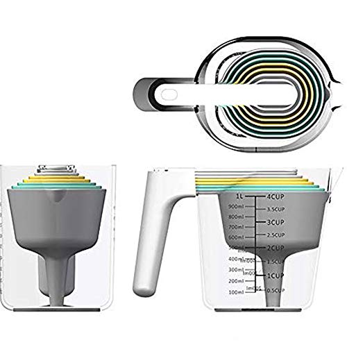 AFreshGo Measuring Cups and Spoons Set of 9 pieces  Nesting Cup and Spoons Set Combo Including 6-piece Measuring Spoons, 1 measuring Cup,1 Kitchen Funnel and 1 Stick  All in one Kitchen Utensils Set