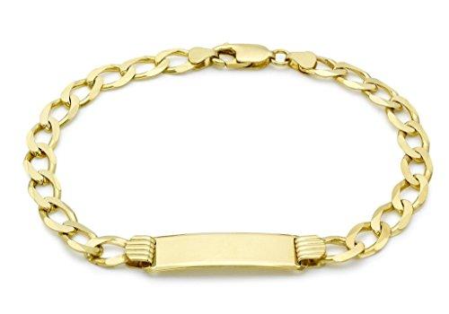 """Jewellery World Bague en or jaune 9carats Bracelet d'identité maille gourmette plat 20cm/8"""""""