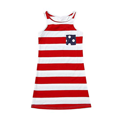 Price comparison product image Patriotic T-Shirt American Flag Dress Baby Girl Family Summer Sleeveless 4th of July Vest American Flag Dresses nikunLONG Red