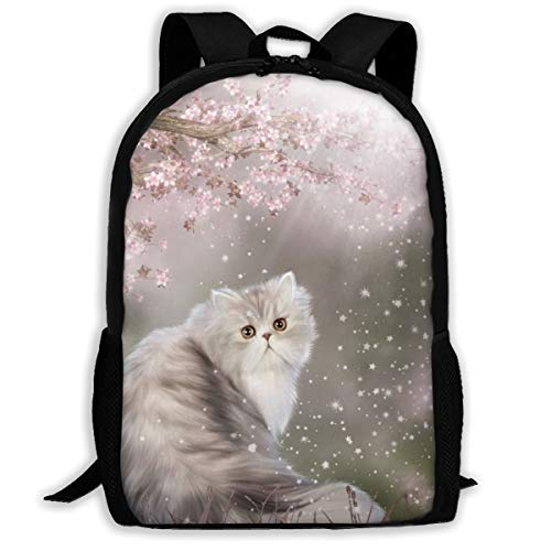 (Sunshine Cherry Persian Cat Fashion Outdoor Shoulders Bag Durable Travel Camping For Kids Backpacks)