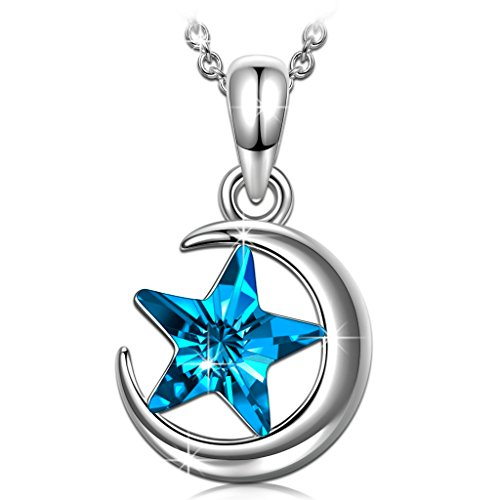 Designer Star Necklace - necklaces for girlfriend her moon swarovski necklace for women teen girls blue star crystals jewelry 18th birthday graduation gifts for daughter friend sister niece anniversary gifts for wife mom aunt