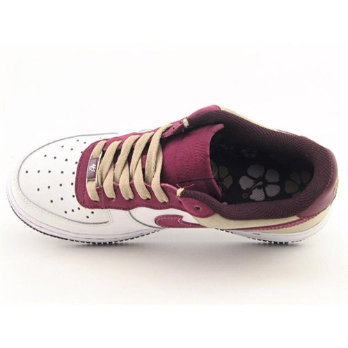 Nike Air Force 1 Low Gs Big Kids (162) Bianco / Profondo Granato-profondo Bordeaux-twd