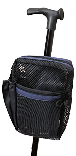 Cane Buddy – Secure Pouch Easily and Safely Attaches to Cane, Walker, Crutches and Wheel Chairs, American Made (Navy Blue)