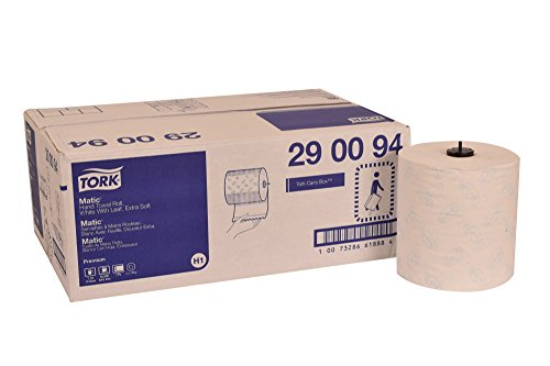 Tork 290094 Premium Extra Soft Matic Paper Hand Towel Roll, 1-Ply, 7.7 Width x 300 Length, White (Case of 6 Rolls, 450 per Roll, 2,700 Feet)
