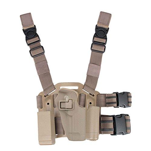 LTY CQC Serpa Right Hand Drop Leg Thigh Pistol Holster for Beretta 92 96 M9 M92 (Tan)