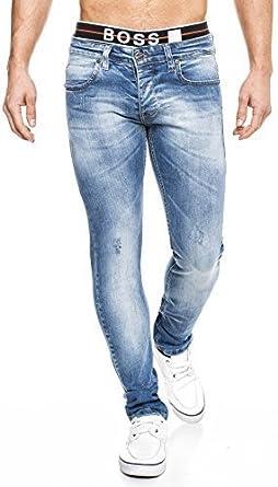 Balandi Pantalones de Hombre con Cintura Baja y Tallaje Ajustado (W29/L32, Modelo 1051 Azul)