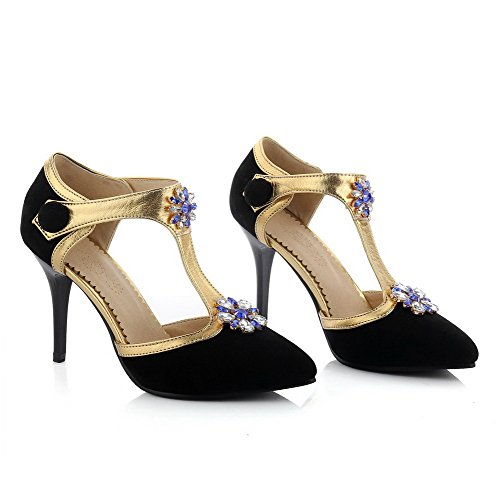 AalarDom Womens Xi Shi Velvet Solid Hook and Loop Closed Toe Spikes Stilettos Sandals Black G2ElTgU