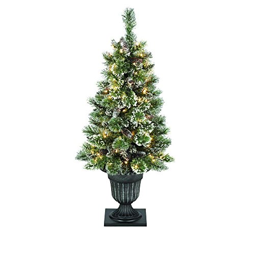 Artificial Christmas Trees Martha Stewart - Martha Stewart Living 4 ft. Indoor Pre-Lit Glittery Bristle Pine Artificial Christmas Entrance Tree