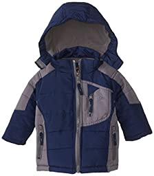 YMI Baby Boys\' Hooded Bubble Color Block Jacket with Detachable Hood, Navy, 18 Months