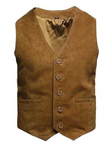 (ABSY Mens Real Leather Waistcoat Vest Soft Goat Suede (Small) Tan)