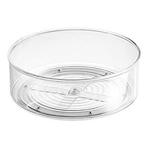InterDesign Lazy Susan Turntable Spice Organizer Bin For Kitchen Pantry, Cabinet, Countertops, Clear