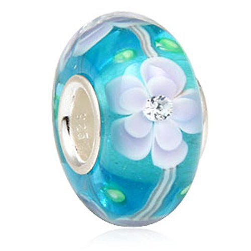 Sky Blue Flower Glass Bead 925 Sterling Silver Charm Clear Charm Murano Charm Friend Charm Friendship Charm Birthday Charm for DIY Bracelets