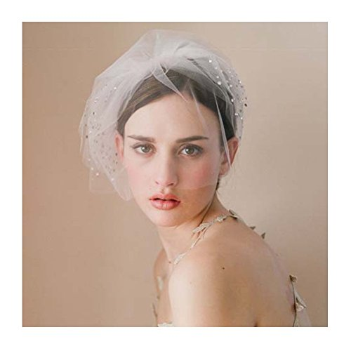 Auch Bridal Wedding Veils Short with Comb, bridal birdcage bridal veil ivory with created (Short Veil)