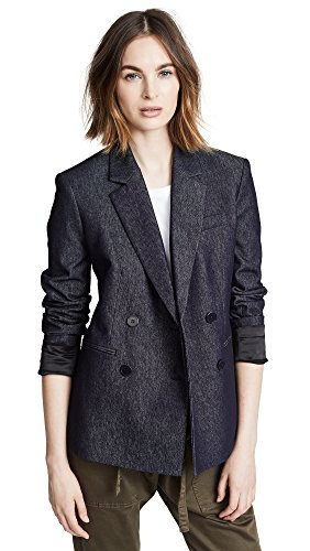 (Theory Women's Double Breasted Blazer, Navy, 10)