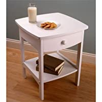 Curved ( White ) Nightstand | End Table With Bottom Shelf