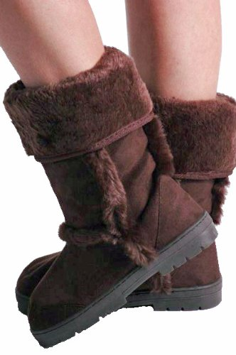 EyeCatchShoes - Womens Winter Warm Fur Suede Style Boots Brown uAa8j7