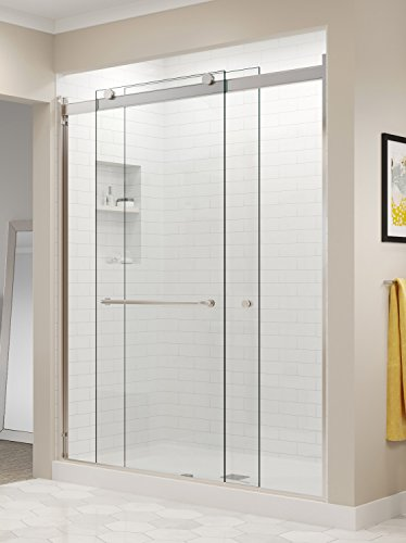 (Basco Rotolo 44-48 W x 70 H inch Semi-Frameless Sliding Shower Door Clear Glass, Brushed Nickel Finish (RTLA05B4870CLBN))