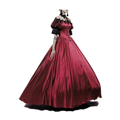 LY-VV Womens Marie Antoinette Rococo Ball Gown Gothic Victorian Dress Costume Wine ()