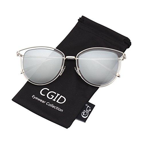 MJ85 Círculo Doble Metálico la Plateado Polarizado Plateado de de Marco Retro lente Sol UV400 Espejo Gafas CGID qxCwgBqd