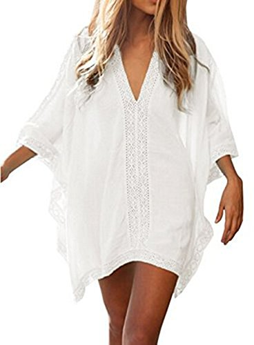 Relipop Women's Fashion Swimsuit Cover-Up Beachwear Mini Dress (Small, White)