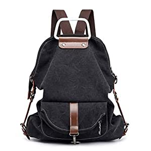 XHHWZB Travel Canvas Simple Rucksack Backpacks for Girls and Boys School Bookbags (Color : Black)