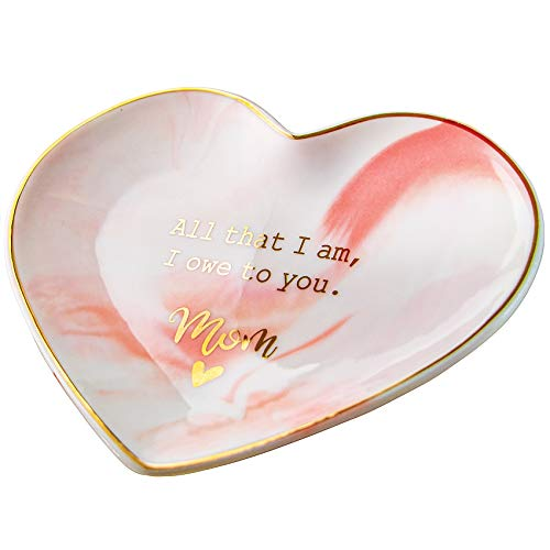VILIGHT Moms Gifts from Daughter and Son Present for Mothers Birthday - All That I Am, I Owe to You Mom Jewelry Tray Ring Dish Large Size 5.5 Inches