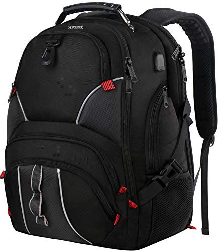 YOREPEK Large Bookbag,17 Inch Laptop Backpack with Anti Theft Pocket for Men Women,TSA Friendly Travel Laptop Backpack with Luggage Sleeve,Water Resistant College School Backpacks for Boy Girls,Black ()