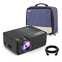 SWZA Video Projector, 4000 LUX Mini Portable Movie Projector Full HD 1080P Supported, Compatible with TV PS4, HDMI, VGA, TF, AV and USB