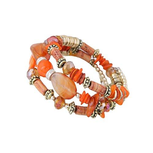 NOVADAB Boho Beads Bracelet for Women and Girls (Orange)
