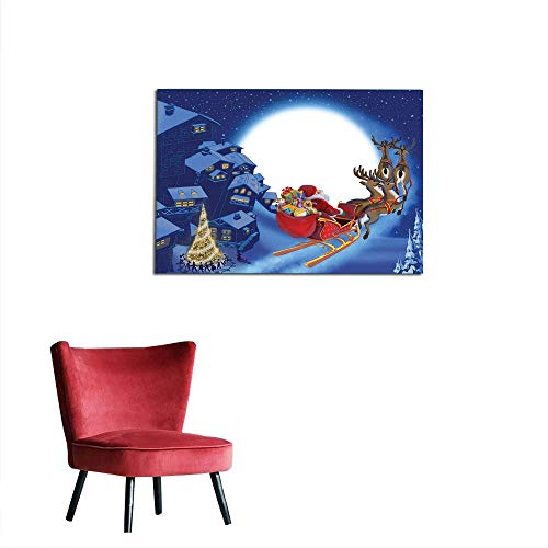 kungfu Decoration Wallpaper Santa,Reindeer Carriage Flying Over Town Houses in Midnight Sky with Full Moon,Navy Blue Multicolor Art Poster W23.6 x L19.7 ()