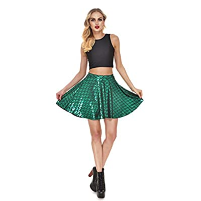 Lesubuy Bright Fish Scales Christmas Party Cute Skirt Shiny Mermaid Tail Mini Flared Skater Knee Length Skirts for Women