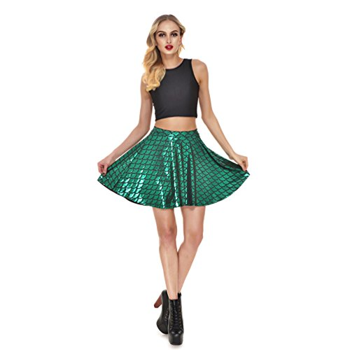 (Lesubuy Bright Fish Scales Christmas Party Cute Skirt Shiny Mermaid Tail Mini Flared Skater Knee Length Skirts for Women XXXX-Large)