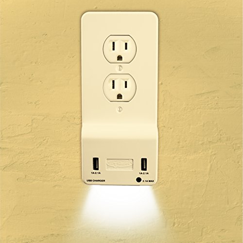 Cyron OutlitMate Dual USB Port Wall Quick Charger Outlet Duplex Receptacle Outlet Socket 3.1A (Charging Max) Wall Plate Cover Included, ETL Listed, Built-in LED Night Light (Duplex Almond)