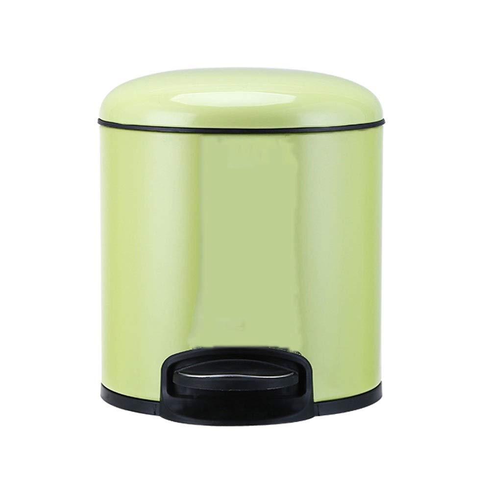 ZR ステンレス製(ふた付き)丸型ゴミ箱、家庭用ペダル型、リビングルームベッドルームキッチンバスルームトイレ (色 : 緑)  緑 B07RJH4R9H