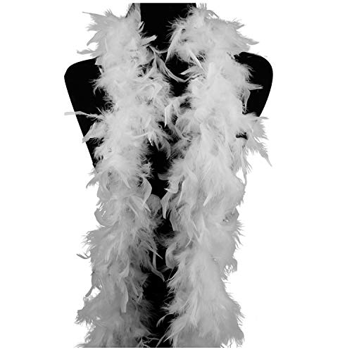 Ws&Wt 40g 5pcs Turkey Chandelle Feather Boa for Adult Women Costume Accessory,Dress up Party Favors - White