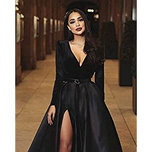 Zipper closure Undetachable belt, V-neck, Thigh slit, Long sleeve, Side pockets, Pleated skirt Handing time 3-5 business days, Expedited shipping needs 2-4 business days, Standard shipping needs 5-7 business days
