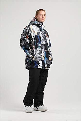 Men Snowboard Jacket Ski Jacket Men Ski Suit Ski Pants Men Waterproof Warm Snow Coat Hooded