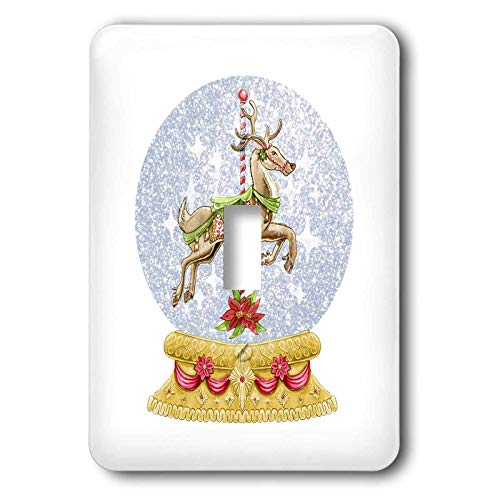 3dRose lens Art by Florene - Retro - Image of Carousel Reindeer In Snow Globe Vintage Style - Light Switch Covers - single toggle switch (lsp_302991_1)