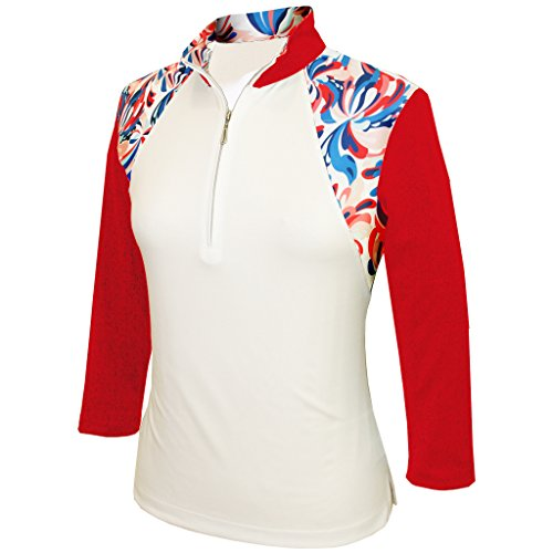 (Monterey Club Ladies' Dry Swing Water Fountain Print Colorblock 3/4 Sleeve Shirt #2347 (White/Red, Large))