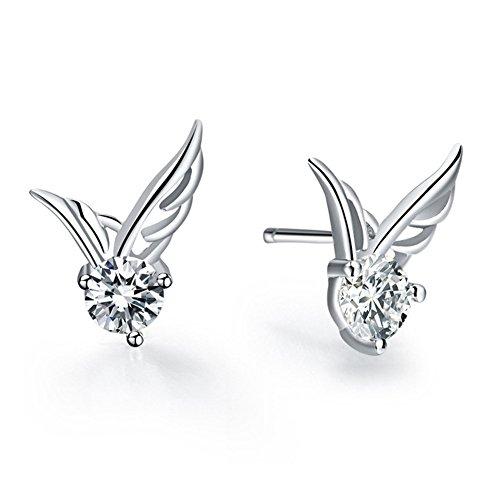 Price comparison product image YIJUE Fashion Women 925 Sterling Silver Jewelry Angel Wings Crystal Ear Stud Earrings