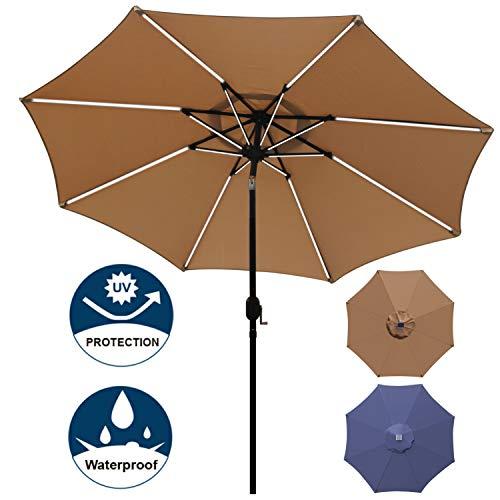 Blissun 9 ft Solar Powered LED Lighted Umbrella Patio Umbrella Table Market Umbrella with Push-Button Tilt & Crank, Outdoor Market Umbrella Garden Umbrella, 16 LED Tubes (Khaki) ()