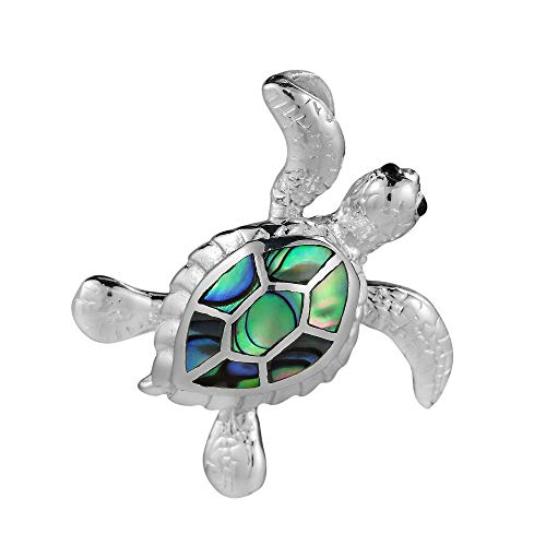 (AeraVida Sea Journey Swimming Turtle Abalone Shell .925 Sterling Silver Pendant)