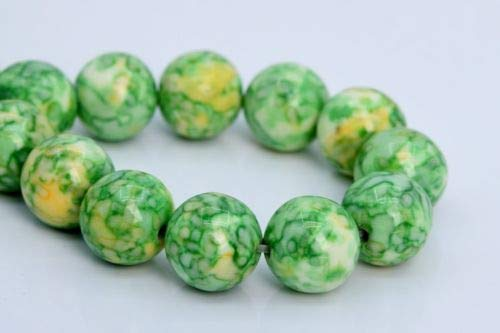 12mm Green Yellow Rain Flower Jade Beads Grade Round Loose Beads 7.5'' Crafting Key Chain Bracelet Necklace Jewelry Accessories Pendants ()